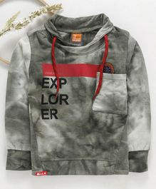 Little Kangaroos Full Sleeves Sweatshirt Explorer Print - Grey Olive Green