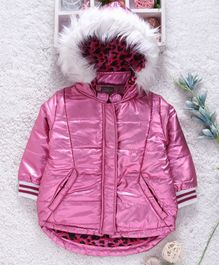 Little Kangaroos Full Sleeves Hooded & Quilted Taffetta Jacket - Glossy Pink