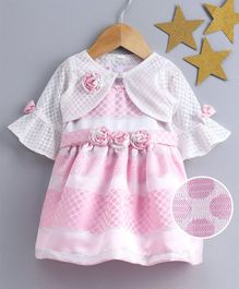 Little Kangaroos Sleeveless Floral Embellished Party Frock With Checks Shrug - Pink White