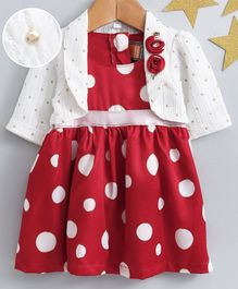 Little Kangaroos Sleeveless Polka Dotted Frock With Pearl Embellished Shrug - Red
