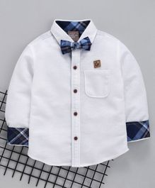 Little Kangaroos Full Sleeves Party Wear Shirt With Bow - White