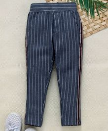 Little Kangaroos Full Length Striped Trousers - Dark Blue