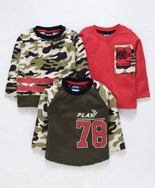 Little Kangaroos Full Sleeves Camouflage Printed T-Shirts Pack of 3 - Olive Green Red
