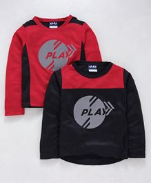 Little Kangaroos Full Sleeves Play Printed T-Shirts Pack of 2 - Black Red