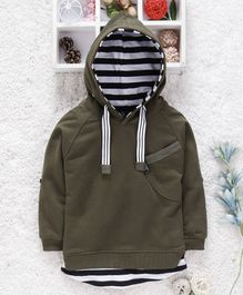 Little Kangaroos Full Sleeves Hooded Tee - Olive Green