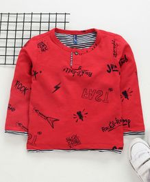 Little Kangaroos Full Sleeves Tee Text Print - Red
