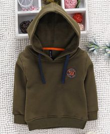 Little Kangaroos Full Sleeves Hooded Sweatshirt - Olive Green