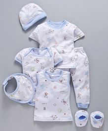 MFM 7 Piece Baby Clothing Gift Set Teddy Print - White Blue