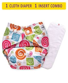 Babyhug Free Size Reusable Cloth Diaper With Insert Spiral Shapes Print - Multicolor