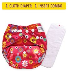 Babyhug Free Size Reusable Cloth Diaper With Insert Floral Print - Red (Packaging May Vary)