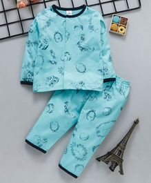 ToffyHouse Full Sleeves Night Suit Multi Print - Teal Blue