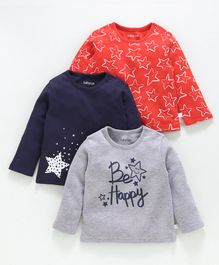 Babyoye Cotton Full Sleeves T-Shirts Pack Of 3 Star Print - Grey Blue Red
