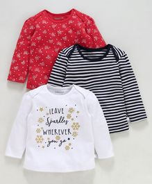 Babyoye Cotton Full Sleeves T-Shirts Pack Of 3 Printed & Striped - White Black Red