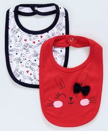 Babyoye Cotton Bibs Bunny Print Pack Of 2 - Navy White Red