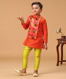 Varsha Showering Trends Flower Print Full Sleeves Kurta With Pajama - Orange