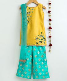 Dhyana Fashions Flower Embroidered Sleeveless Kurta With Palazzo - Yellow & Blue