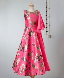 Dhyana Fashions All Over Rose Print Half Sleeves Gown  - Pink