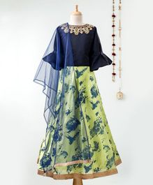 Dhyana Fashions Flower Embellished Three Fourth Sleeves Choli With Printed Lehenga - Blue & Green