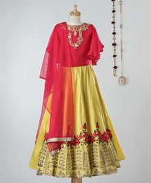 Dhyana Fashions Flower Embroidered Half Sleeves Choli With Lehenga - Red & Yellow
