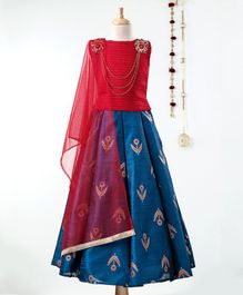 Dhyana Fashions Sleeveless Choli With Self Leaves Print Lehenga - Red & Blue