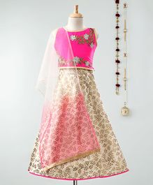Dhyana Fashions Flower Embroidered Sleeveless Choli With Lehenga - Pink & Cream