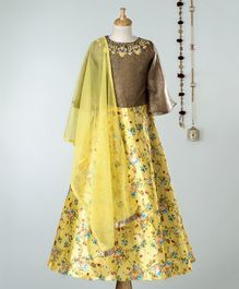 Dhyana Fashions Full Sleeves Choli With Flower Printed Lehenga - Yellow & Brown