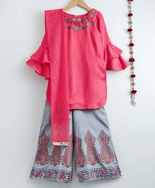 Dhyana Fashions Flower Embellished Full Sleeves Kurta With Palazzo - Pink & Grey