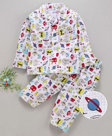 Teddy Full Sleeves Night Suit Multiprint - White