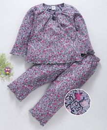 Teddy Full Sleeves Night Suit Butterfly Print - Grey