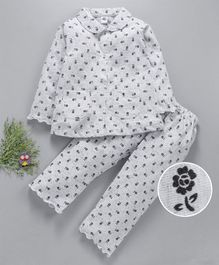 Teddy Full Sleeves Night Suit Floral Print - Light Grey