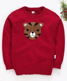 Teddy Full Sleeves Sweater Tiger Design - Red