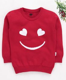 Teddy Full Sleeves Sweater Smiley Design - Red