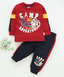 Teddy Full Sleeves Tee And Lounge Pant Camp Adventure Print - Red Navy Blue