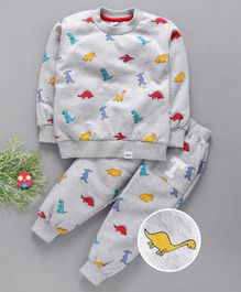 Teddy Full Sleeves Tee And Lounge Pant Dino Print - Grey