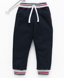 Teddy Full Length Lounge Pant With Drawstring Racing Print  - Navy Blue