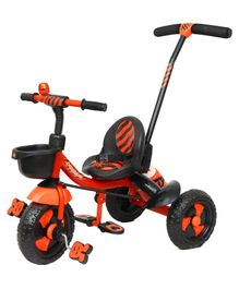 Luusa Rx 500 Tricycle With Parent Push Handle & Safety Belt - Red Black