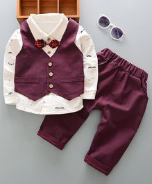 Pre Order - Awabox Full Sleeves Moustache Print Shirt & Pants Set With Vest & Bow Tie - Wine