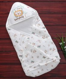 Babyhug Hooded Wrapper Lion Print - White