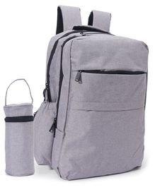 Backpack Diaper Bag With Bottle Cover - Grey