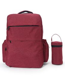 Backpack Diaper Bag With Bottle Cover - Red