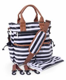 Striped Diaper Bag With Changing Mat - Black Brown
