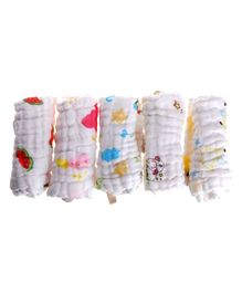 Mom's Home Muslin Wash Cloth Towels Cum Wipes Multi Print Pack of 5 - White