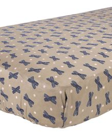 My Milestones Crib Sheet Bows Print - Brown