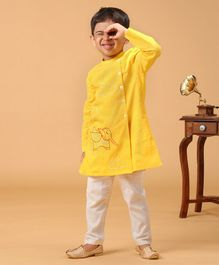 Tiber Taber Elephant Embroidered Full Sleeves Kurta With Pyjama - Yellow