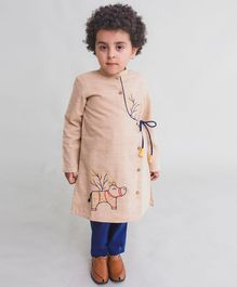 Tiber Taber Rhino Embroidered Full Sleeves Kurta & Pyjama Set - Beige