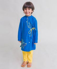 Tiber Taber Rhino Embroidered Full Sleeves Kurta & Pyjama Set - Blue