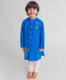 Tiber Taber Tiger Embroidered Full Sleeves Kurta & Pyjama Set - Blue