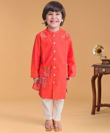 Tiber Taber Deer Embroidered Full Sleeves Kurta & Pyjama Set - Peach