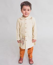 Tiber Taber Deer Embroidered Full Sleeves Kurta & Pyjama Set - Beige