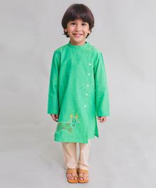Tiber Taber Cow Embroidered Full Sleeves Kurta & Pyjama Set - Green